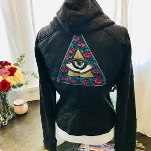 Vegan leather,knit fabric hood ,and hand painted